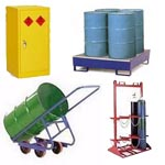 Drum and cylinder storage racks, trolleys for gas bottles, oil drums with bunded sumps