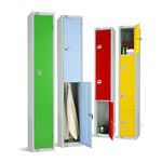 Steel Lockers with coloured doors for schools college changing rooms and locker rooms