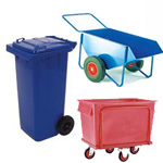 Wheelie bins, waste skips, litter bins and recycling dump bins bottle skips